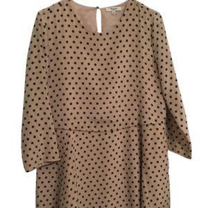 Madewell Tan With Black Polka Dots Silk Dress